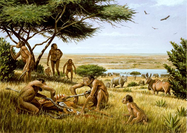 Les Australopithèque dans la savane