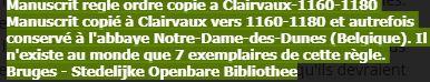 Manuscrit règle de l'ordre des Templiers Clairvaux abbaye