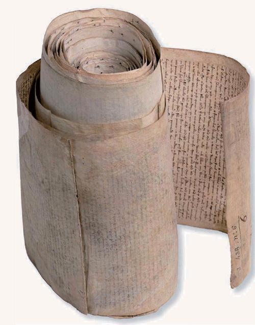 Parchemin, rouleau de 44 membranes cousues par des fils de lin. 22,37x 0,38 m. Paris, Arch. nat, J 413, n°18.