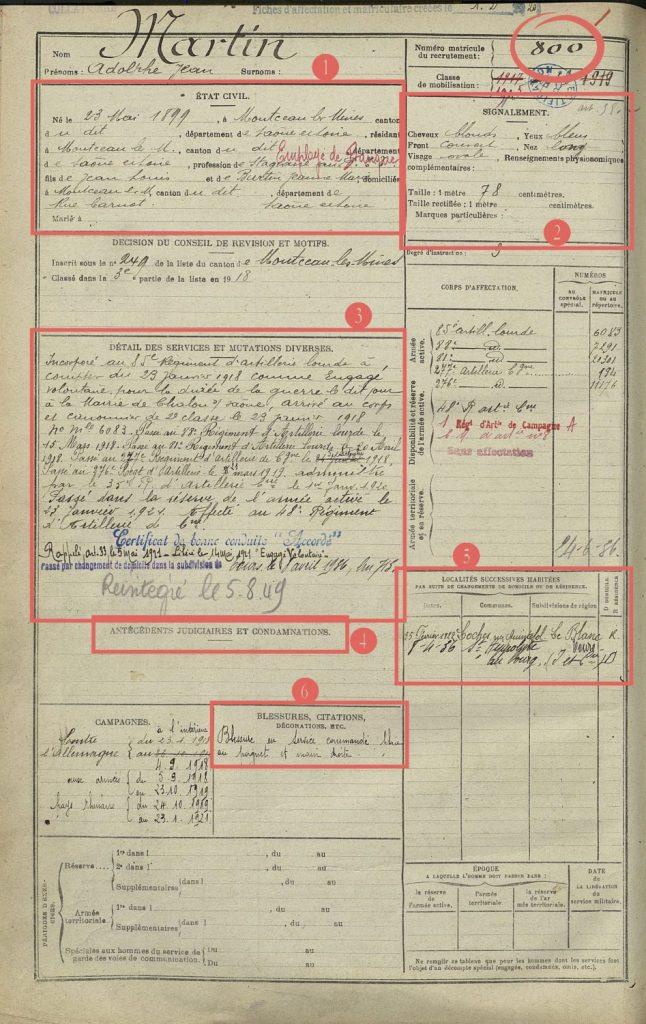 registre matricule