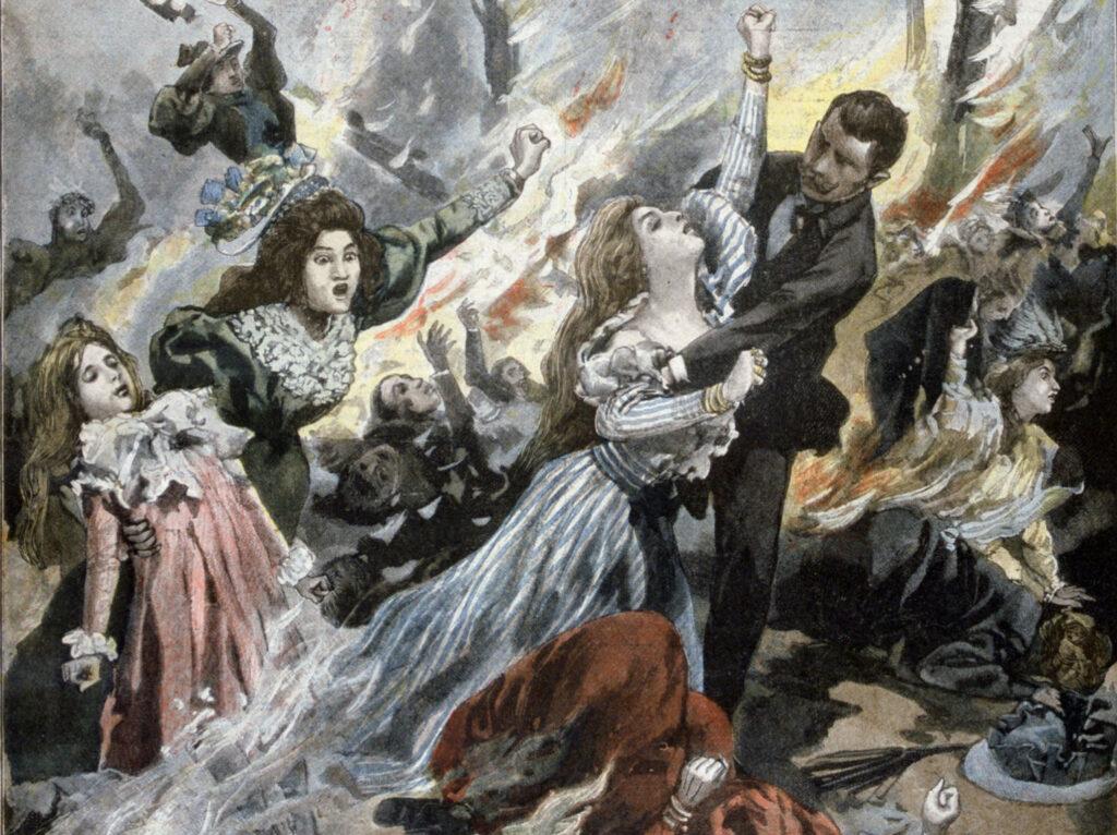 Représentation de l'incendie du Bazar de la Charité parue dans Petit Journal du 16 juillet 1897.© Heritage-Images / Art Media / akg-images