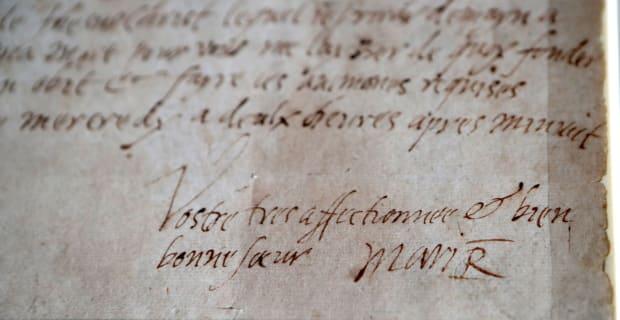 Signature de Marie Stuart dans une lettre qu'elle écrivit quelques heures avant sa mort.