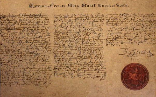 Acte de mort de Marie Stuart signé par Elizabeth Ière